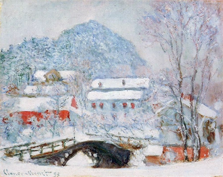 Claude Monet, Village de Sandviken sous la neige, 1895, huile sur toile 73x92cm, Art Institute of Chicago