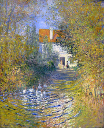 Les oies dans le ruisseau, Claude Monet, 1874, huile sur toile 73,7 x 60 cm, Francine and Sterling Clark Art Institute, Willamstown, Massachussetts