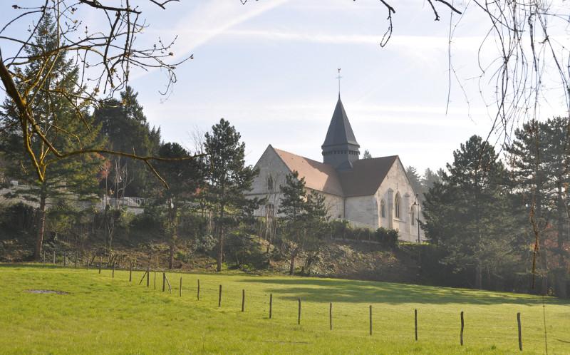 Eglise de Giverny vue depuis le Chemin du Roy