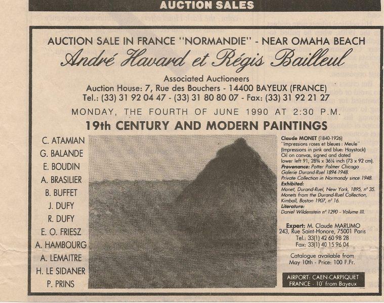 Annonce pour la vente aux enchères de la Meule de Monet à Bayeux en 1990
