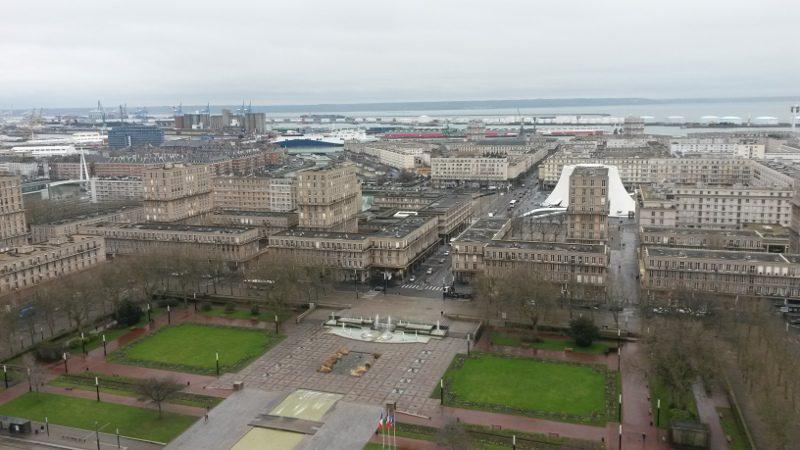 Vue de la ville du Havre depuis la tour de l'hôtel de ville