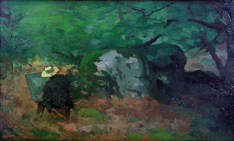 Le peintre Claude Monet peignant dans la forêt de Fontainebleau, Alfred Sisely