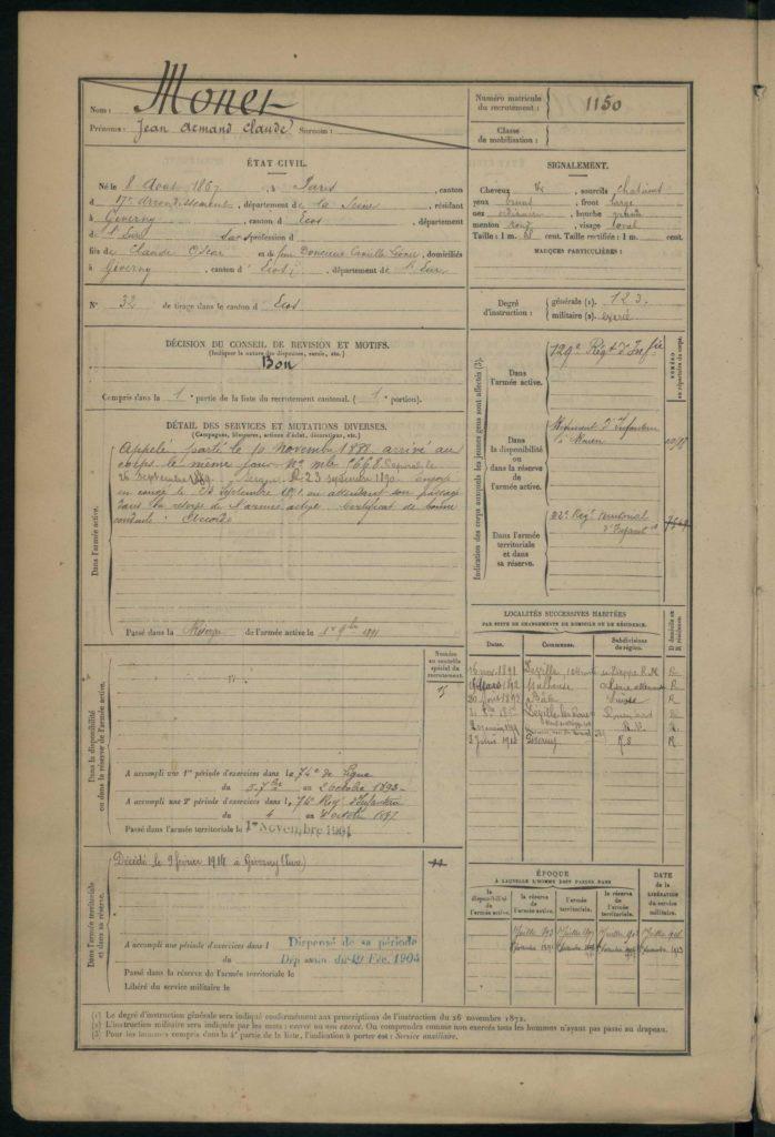 Les registres matricules des fils Monet