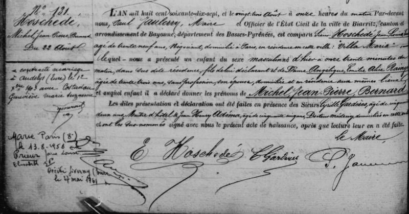 La naissance de Jean-Pierre Hoschedé